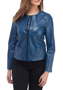 Leather Zip Front Jacket