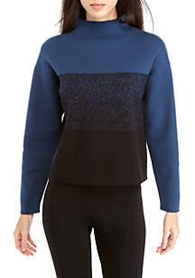 Colorblock Mock Neck Jacquard Sweater