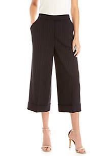 Pin Stripe Cuff Culotte Pants