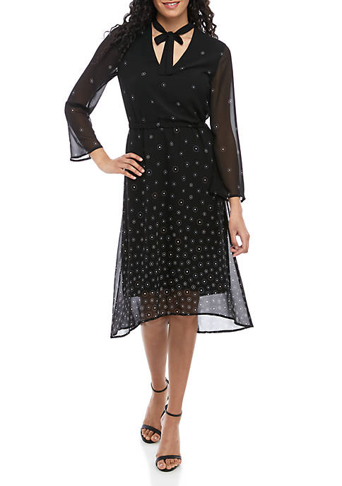 Simone Print Long Sleeve Fit And Flare Dress