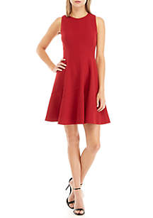 Crepe Seam Fit and Flare Dress