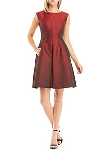 Camille Dot Jacquard Fit and Flare Dress