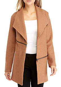 Wing Collar Cardigan with Zip Pockets