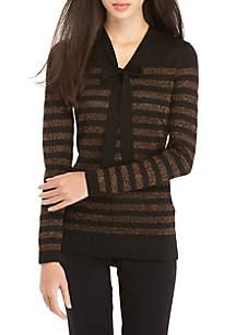 Lurex Stripe Bow Front Sweater