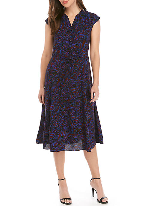 Anne Klein Celeste Print Drawstring Midi Dress