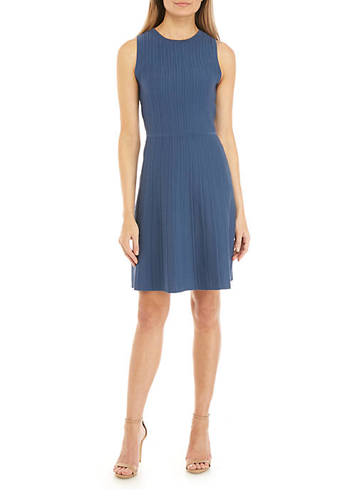 Anne Klein Textured Fit and Flare Sweater Dress