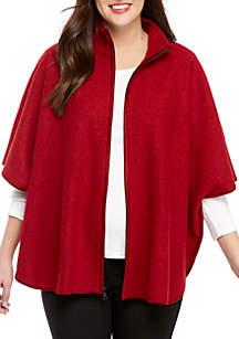 Wool Zip Front Cape