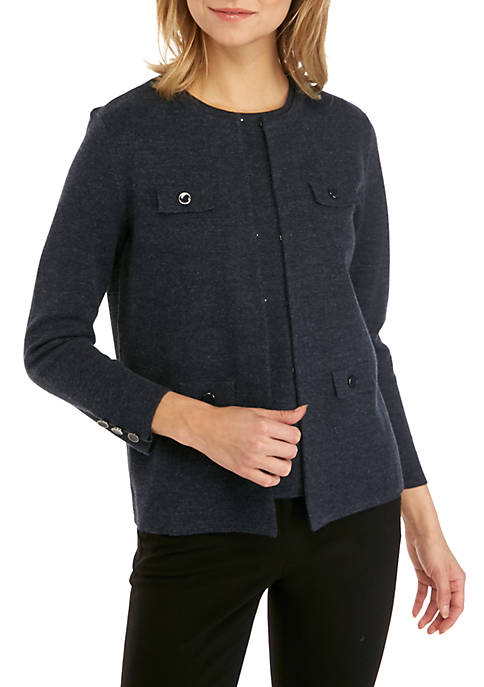 Anne Klein Cardigan with Faux Pocket Flaps