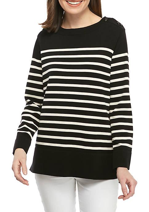 Button Shoulder Stripe High Low Sweater