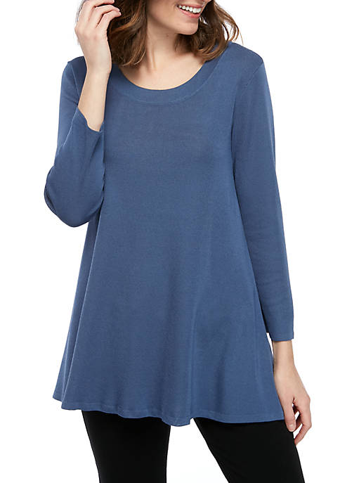 Solid 3/4 Sleeve Trapeze Top