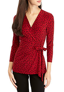 Camille Dot Wrap Top with 3/4 Sleeves