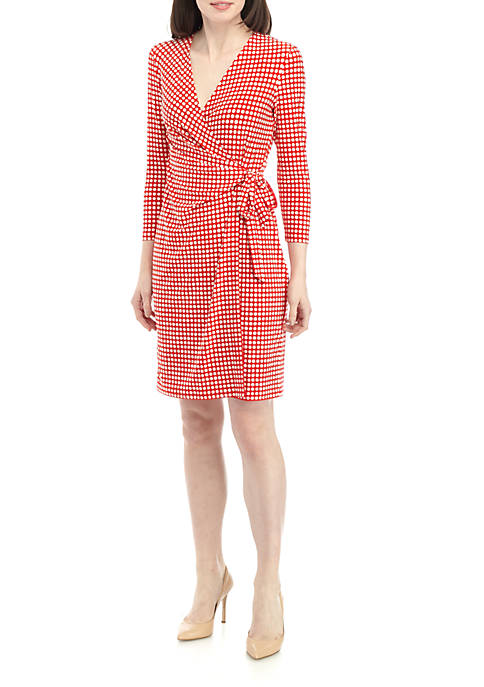 Anne Klein Pearly Dot ITY Wrap Dress
