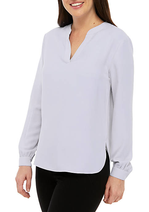Anne Klein Split Neck High Low Top