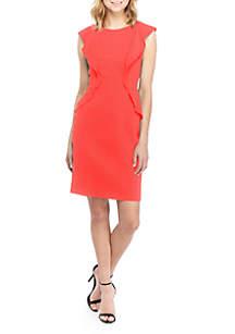 Anne Klein Flutter Sleeve Crepe Sheath Dress