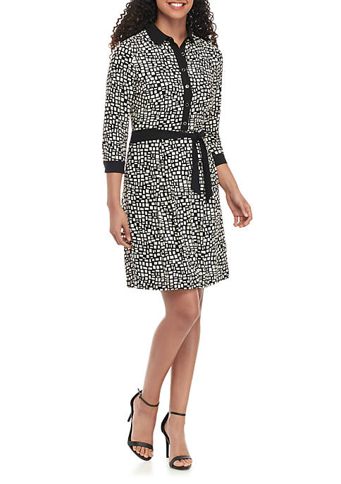 Anne Klein Geometric Button Front Shirt Dress