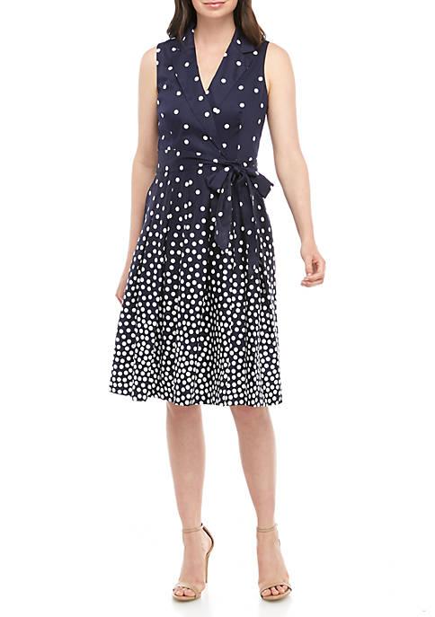 Anne Klein Dot Notch Collar Wrap Dress