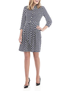 Anne Klein Geometric Fit and Flare Belted Dress