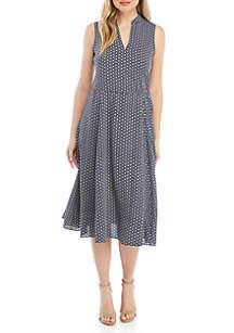 Anne Klein Sleeveless Drawstring Midi Dress