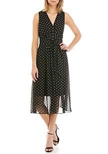 Anne Klein V Neck Dot Midi Dress