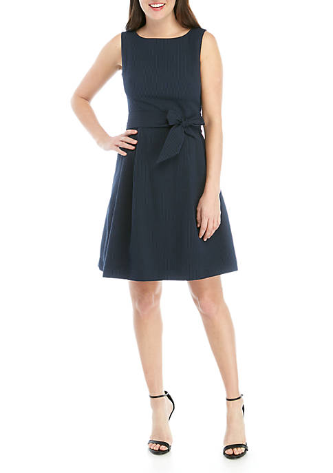 Sleeveless Belted Fit and Flare Dress