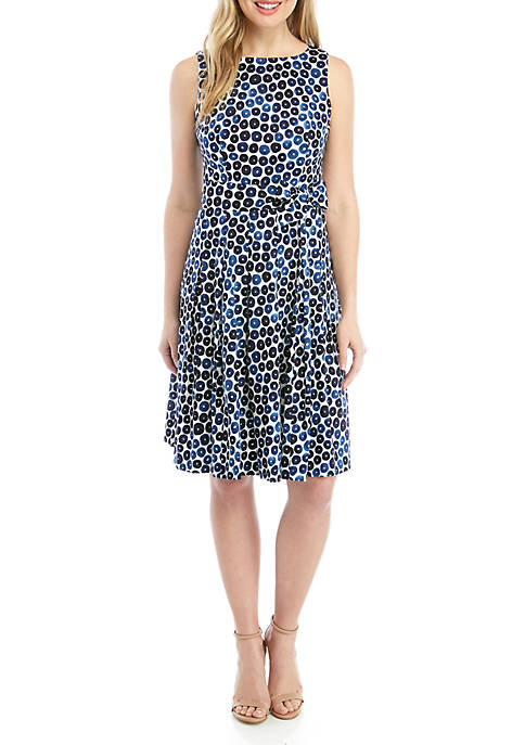 Anne Klein Sleeveless Printed Fit and Flare Dress