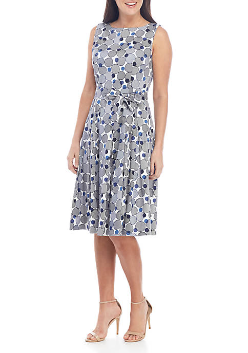 Anne Klein Dot Print Fit and Flare Belted