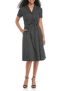 Anne Klein Dot Belted Shirt Dress