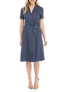 bb6492bb21d ... Anne Klein Dot Belted Shirt Dress