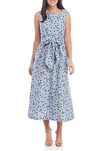 Anne Klein Mini Check Dot Midi Dress