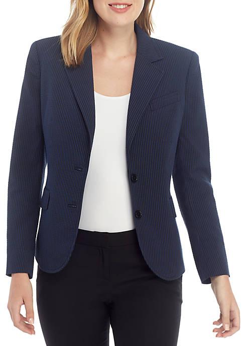 Anne Klein Seersucker 2 Button Blazer