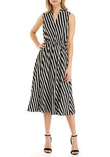 Anne Klein Stripe Drawstring Dress