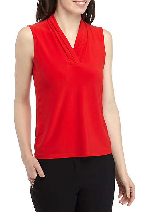 Anne Klein Solid Sleeveless ITY Blouse