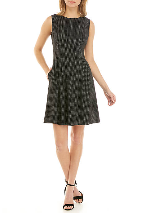 Anne Klein Dot Crepe Fit and Flare Dress