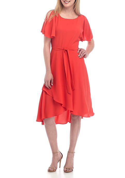Anne Klein Flutter Sleeve Midi Dress