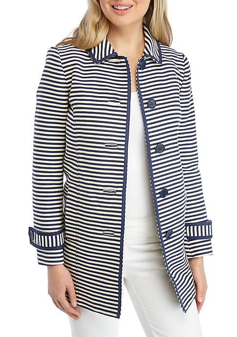 Anne Klein Ribbon Tweed Stripe Duster
