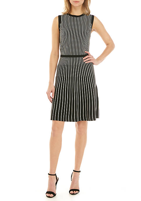 Anne Klein Vertical Stripe Fit and Flare Dress