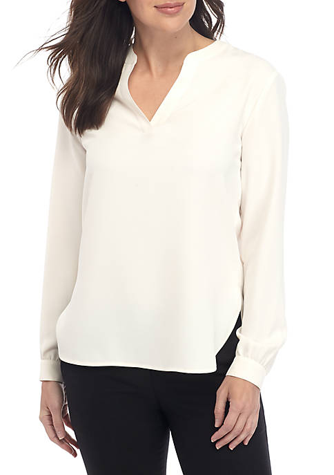 Anne Klein High Low Blouse with Split Neck