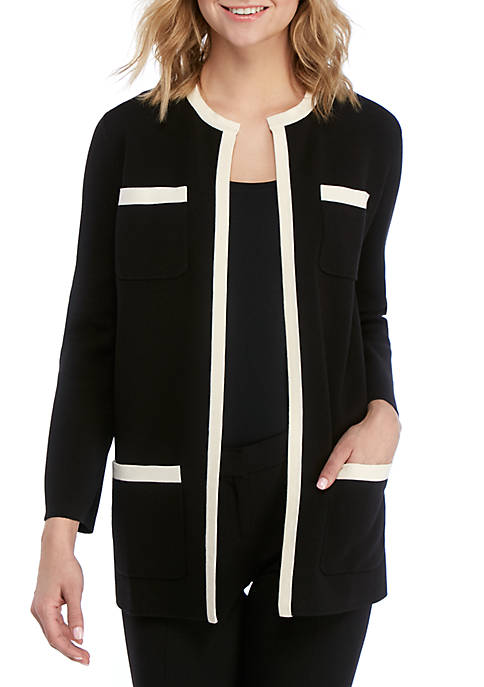 Anne Klein Tipped Patch Pocket Cardigan
