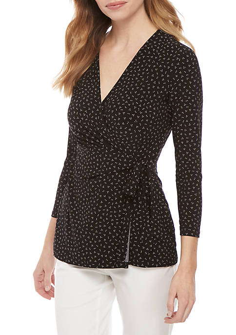 3/4 Sleeve Dotted Wrap Top