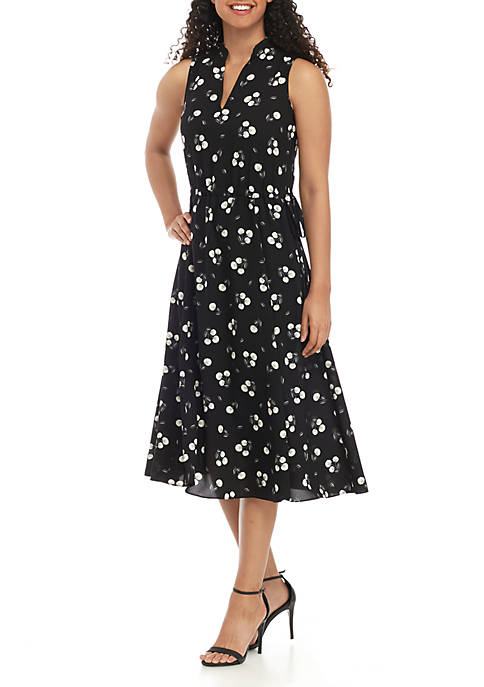 Anne Klein Floral Sleeveless Drawstring Dress