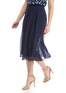 Anne Klein Pleated Chiffon Midi Skirt