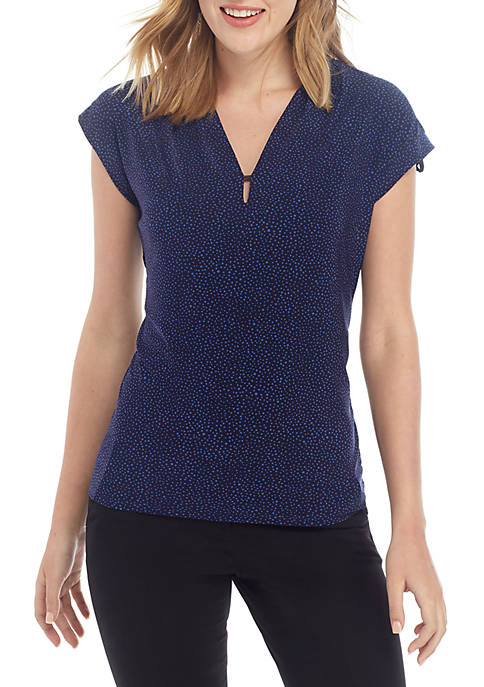 Anne Klein V Neck Cap Sleeve Dot ITY