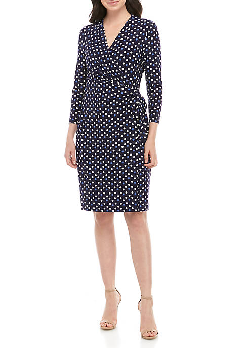 Anne Klein Dot Wrap ITY Dress