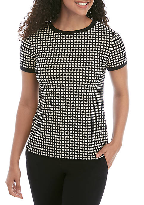 Anne Klein Short Sleeve Polka Dot ITY Top