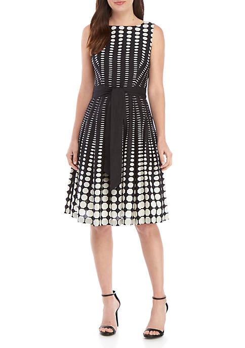 Anne Klein Fade Dot Fit and Flare Dress