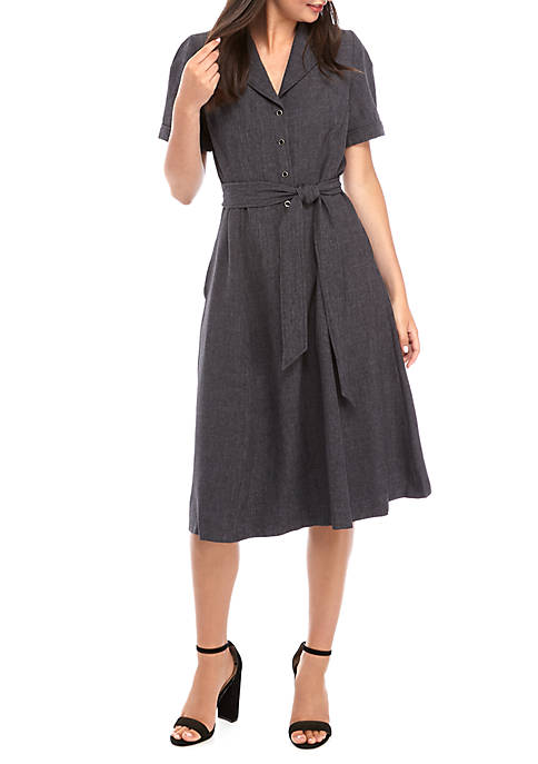 Notch Collar Twill Fit and Flare Dress