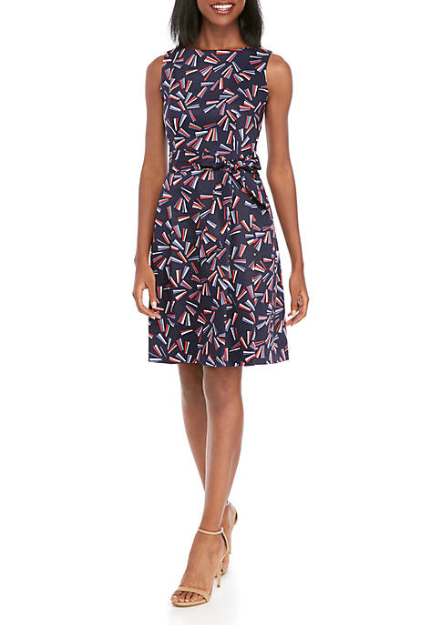 Anne Klein Fireworks Print Fit and Flare Dress