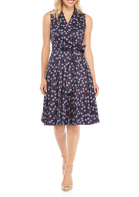 Anne Klein Printed Notch Collar Wrap Dress