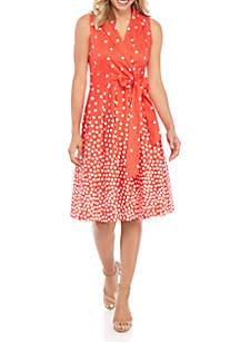 Anne Klein Notch Collar Ombre Print Dress
