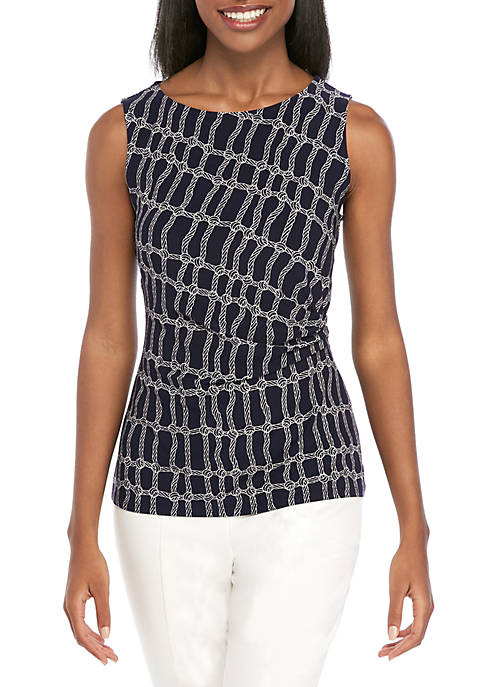 Anne Klein Rope Print Side Ruched Tank